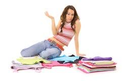 Mujer y ropa Imágenes de archivo libres de regalías