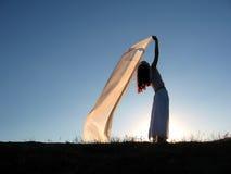 Mujer y seda Foto de archivo