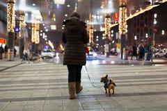 Mujer y su perro que caminan en la noche fría del invierno a través de la estación central en Viena imagen de archivo libre de regalías