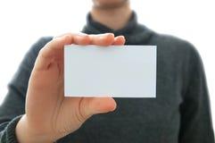 Mujer y tarjeta de negocios foto de archivo