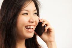 Mujer y teléfono móvil Imágenes de archivo libres de regalías
