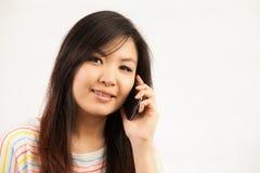 Mujer y teléfono móvil Fotografía de archivo
