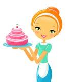 Mujer y torta hermosas Imagen de archivo
