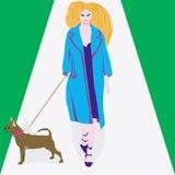 Mujer y un perro Imágenes de archivo libres de regalías