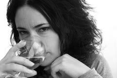 Mujer y vino Fotografía de archivo