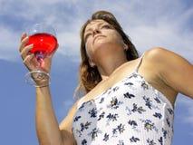 Mujer y vino Imagenes de archivo