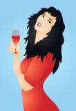 Mujer y vino Foto de archivo libre de regalías
