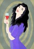 Mujer y vino Imagen de archivo libre de regalías