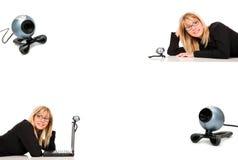 Mujer y webcam digital Fotografía de archivo libre de regalías