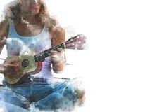Mujeres abstractas que juegan la pintura de la acuarela de la guitarra acústica libre illustration