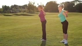 Mujeres adultas delgadas que hacen posiciones en cuclillas con bodybar en parque almacen de video