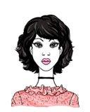 Mujeres africanas jovenes de la moda Retrato hermoso del avatar de la muchacha del vector Caras lindas del modelo de la señora en ilustración del vector