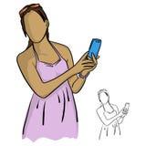 Mujeres al la tenencia y usar del rosa el ejemplo del vector del teléfono móvil Fotos de archivo