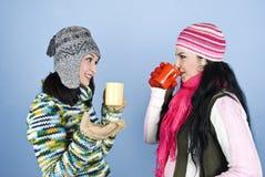 Mujeres alegres de la conversación y bebida caliente Imágenes de archivo libres de regalías