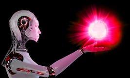 Mujeres androides del robot con la luz Fotos de archivo