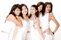 Mujeres asiáticas en #7 blanco Foto de archivo libre de regalías