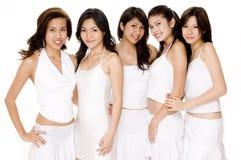Mujeres asiáticas en #1 blanco Imágenes de archivo libres de regalías