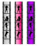 Mujeres atractivas de la tira de la película de Grunge Fotografía de archivo