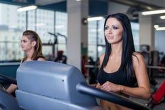 Mujeres atractivas del ajuste que corren en las ruedas de ardilla en gimnasio moderno Chicas jóvenes jovenes sanas que hacen ejer fotografía de archivo