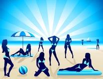 Mujeres atractivas en la playa - vector Imágenes de archivo libres de regalías