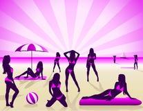 Mujeres atractivas en la playa - vector Libre Illustration