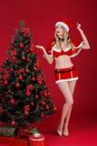 Mujeres atractivas en la ropa de Santa Claus cerca del árbol de navidad Fotos de archivo