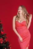 Mujeres atractivas rubias en el vestido rojo cerca del árbol de navidad Imagenes de archivo