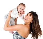Mujeres bastante jovenes con su hijo Foto de archivo