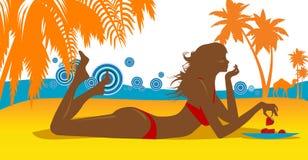 Mujeres bastante jovenes en una playa stock de ilustración