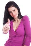 Mujeres bonitas jovenes con el pulgar levantado como muestra de Fotografía de archivo libre de regalías