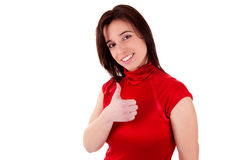 Mujeres bonitas jovenes con el pulgar para arriba Fotografía de archivo libre de regalías
