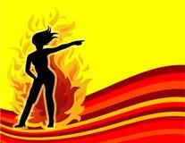 Mujeres calientes en el fuego Fotografía de archivo libre de regalías
