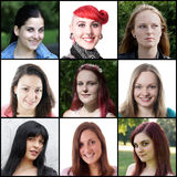 Mujeres caucásicas que se extienden a partir del 18 a 30 años Imagenes de archivo