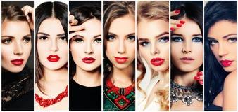Mujeres Collage de la belleza Caras de la moda Imagen de archivo