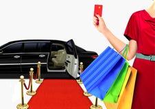 Mujeres con compras de lujo de la forma de vida Fotografía de archivo