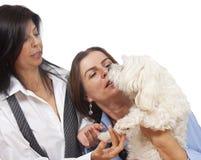 Mujeres con el perro fotografía de archivo libre de regalías