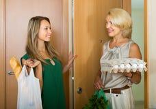 Mujeres con las compras de la comida en el umbral fotos de archivo