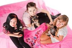 Mujeres con los animales domésticos Fotografía de archivo