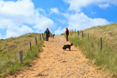 Mujeres con los perros que recorren en las dunas Fotos de archivo libres de regalías