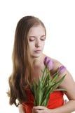 Mujeres con los tulipanes Foto de archivo libre de regalías