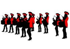 Mujeres cuatro del desfile del tambor Imagen de archivo libre de regalías