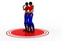 mujeres 3d que sostienen el mic Imagenes de archivo