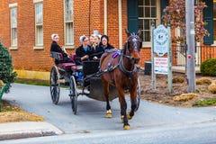 Mujeres de Amish que montan en carro alto en pueblo de la cópula Fotos de archivo libres de regalías