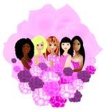 Mujeres de diversas pertenencias étnicas junto Imagen de archivo