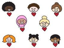 Mujeres de diversas razas Amistad de la gente ilustración del vector