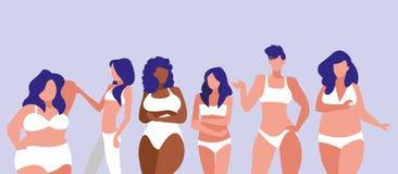 Mujeres de diversos tama?os y razas que modelan la ropa interior ilustración del vector