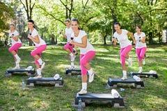 Mujeres de la aptitud con pesa de gimnasia Fotografía de archivo