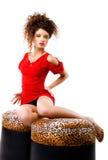 Mujeres de la elegancia en los taburetes Imagen de archivo libre de regalías