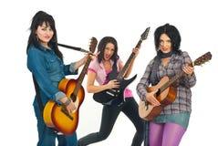 Mujeres de la venda de los guitarristas de la roca Fotos de archivo