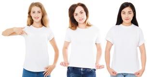 Mujeres de la vista delantera en la camiseta blanca aislada en el fondo blanco, mujer caucásica asiática, coreana en la camiseta, foto de archivo